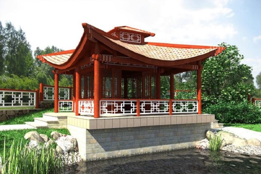 Строительство беседки в японском стиле у пруда